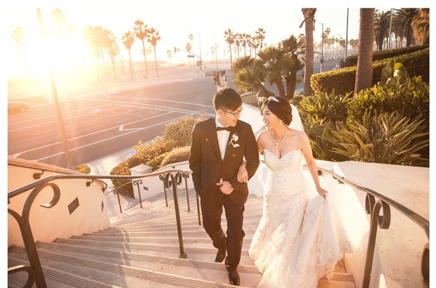 Sunset beach wedding designed by a top wedding planner at unique Orange County wedding venues http://RoyceWeddings.com Call: 626-560-2537