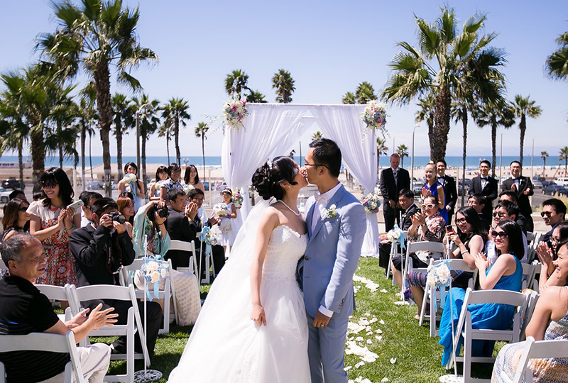 This elegant Orange County hotel wedding ends with a kiss as a great wedding ceremony ideas http://RoyceWeddings.com Call: 626-560-2537