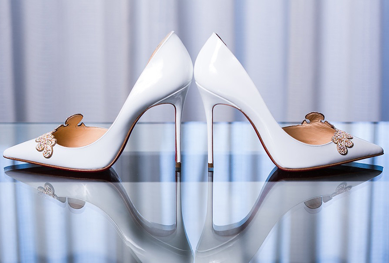 The wedding planner selected the perfect wedding shoes for this Orange County wedding venues http://RoyceWeddings.com Call: 626-560-2537