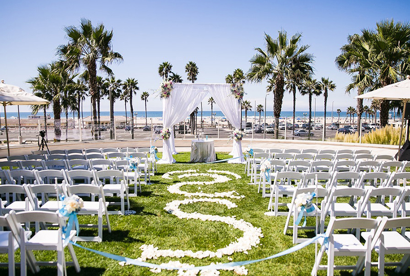 This Los Angeles wedding venue is perfectly designed with pastel blue wedding flowers and wedding decorations http://RoyceWeddings.com Call: 626-560-2537