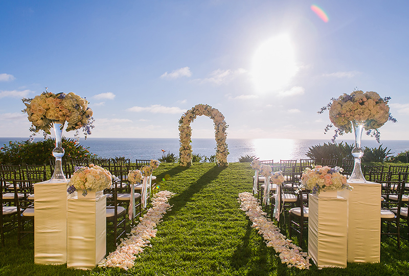 Oceanfront wedding altar from the top wedding production companies at The Ritz Carlton Laguna Niguel.