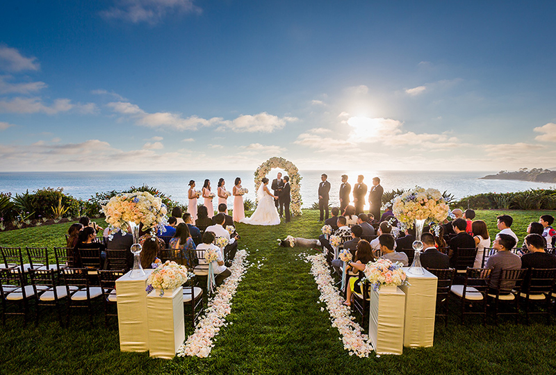 Amazing wedding ceremony with unique wedding productions and on one of the best wedding venues in Orange County.
