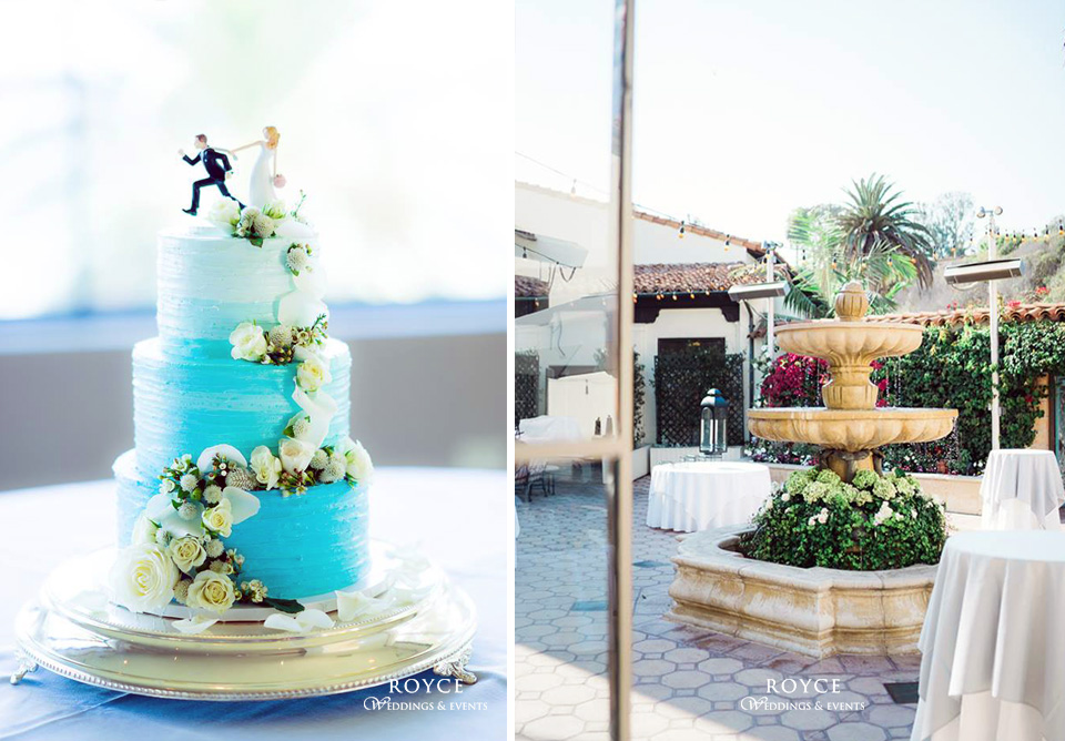Amazing wedding cake and outdoor patio of the Bel Air Bay Club wedding venue. Make your dream wedding come true at http://RoyceWeddings.com Call: 626-560-2537