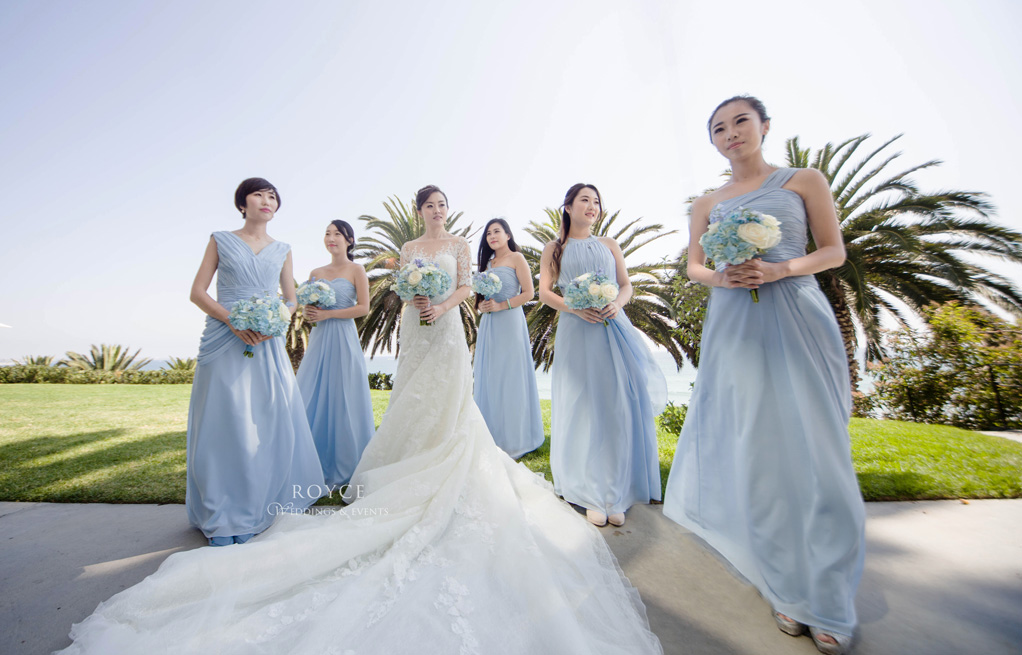 Bride with her bridesmaids outdoor picture at the Bel Air Bay Club wedding room. http://RoyceWeddings.com Call: 626-560-2537