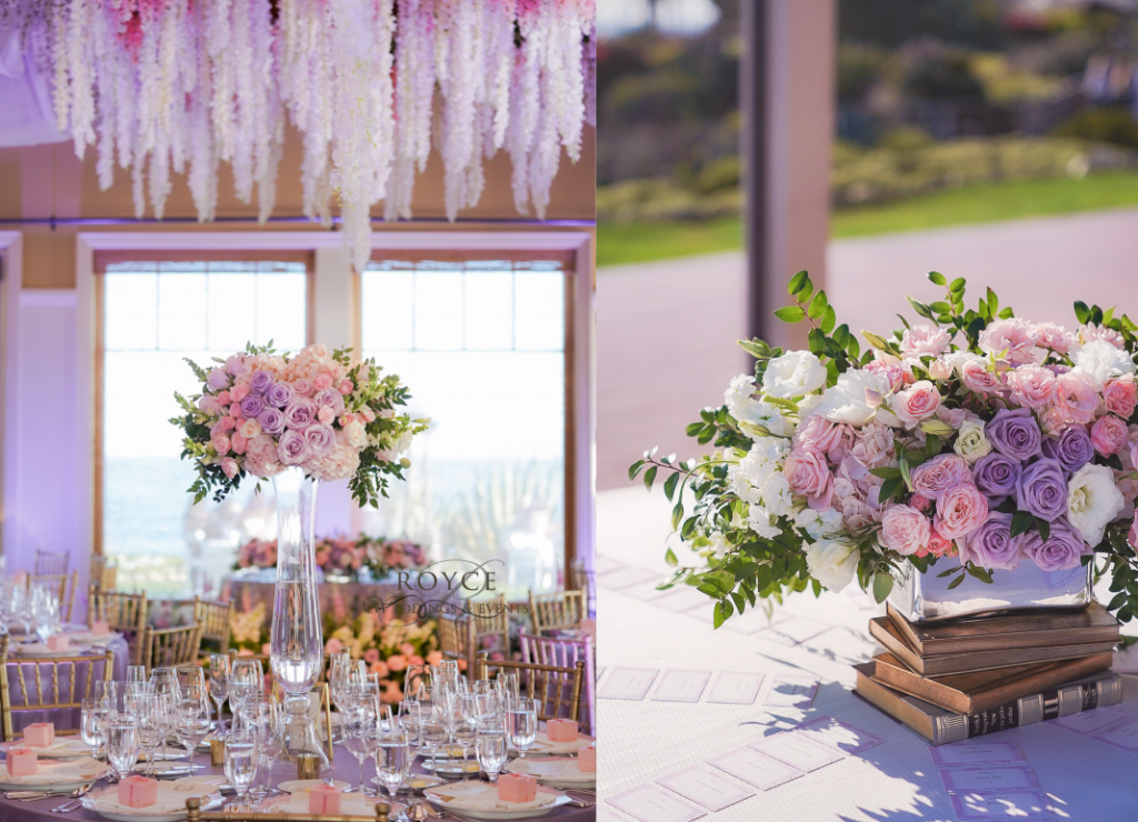 Reception ceiling & centerpieces created by the OC wedding planner at the oceanfront Montage Laguna Beach. http://RoyceWeddings.com Call: 626-560-2537